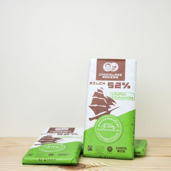 Chocolate Makers Tres Hombres Schokofahrt Tafel 52% + Kaffee 85g